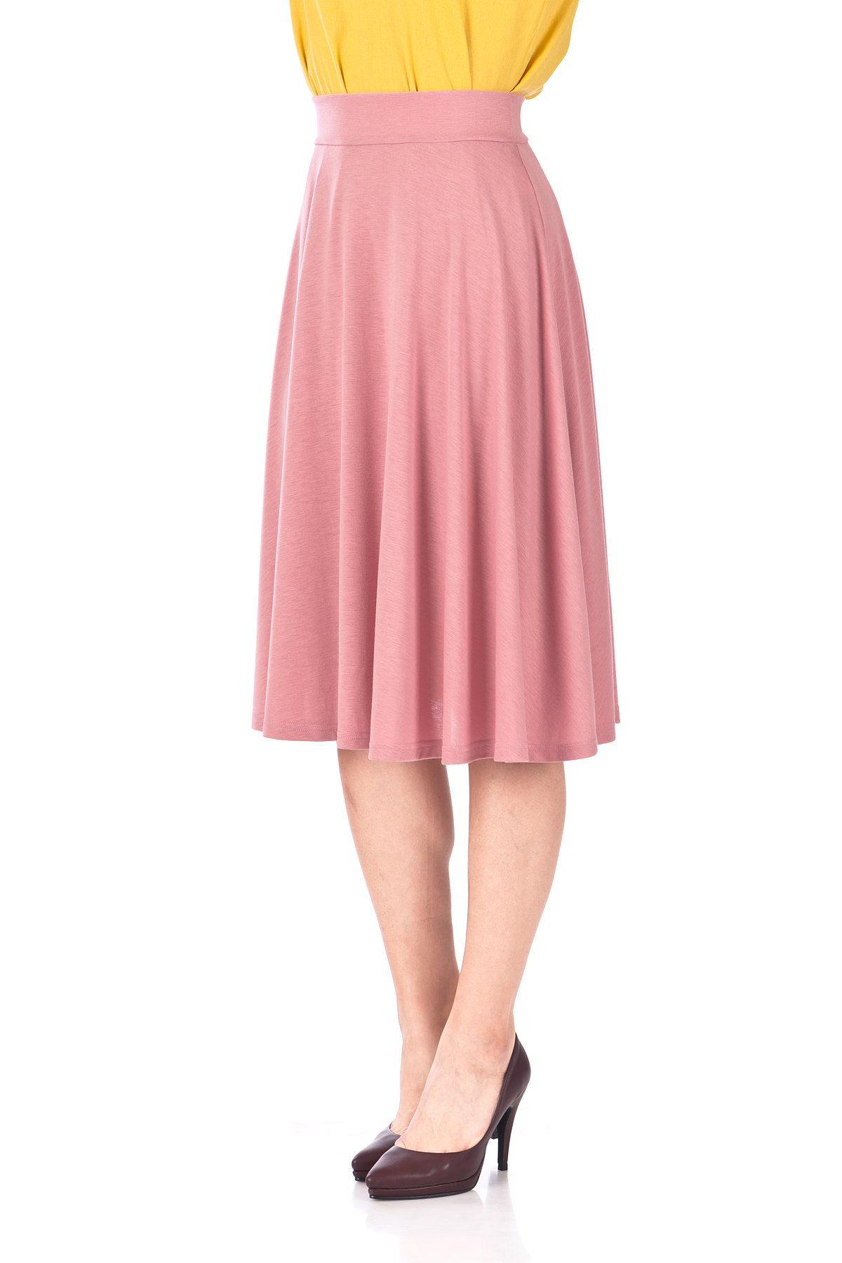 Beautiful Flowing A Line Flared Swing Midi Skirt Flamingo 06