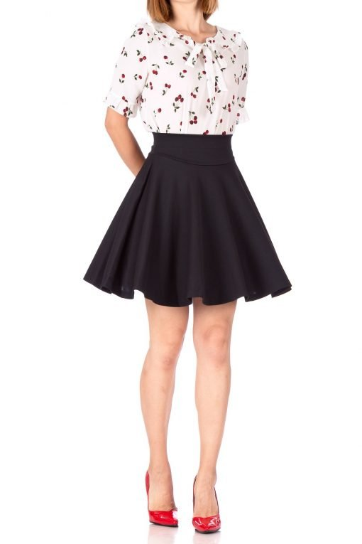 Breathtaking High Waist A line Circle Full Flared Skater Mini Skirt Black 01 1