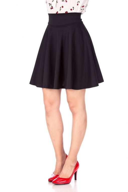 Breathtaking High Waist A line Circle Full Flared Skater Mini Skirt Black 06 1