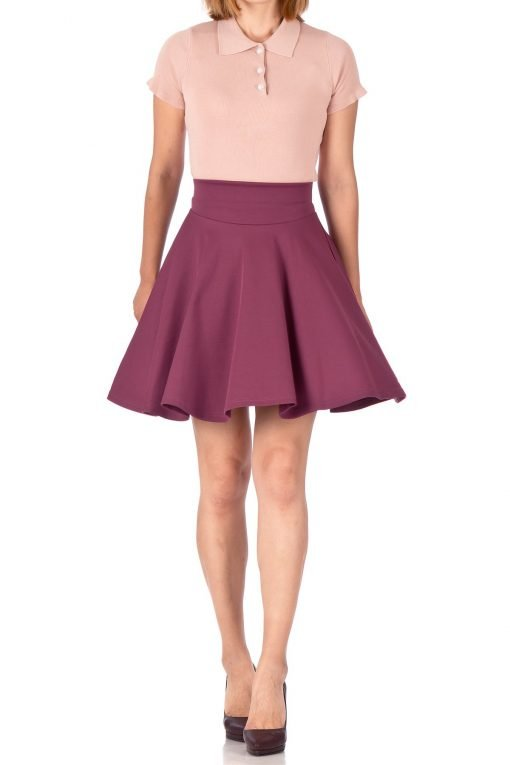 Breathtaking High Waist A line Circle Full Flared Skater Mini Skirt Hibiscus 01 1