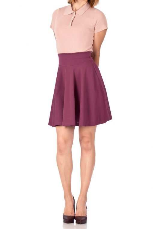 Breathtaking High Waist A line Circle Full Flared Skater Mini Skirt Hibiscus 02 1
