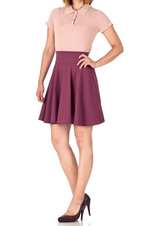 Breathtaking High Waist A line Circle Full Flared Skater Mini Skirt Hibiscus 03 1