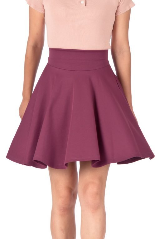 Breathtaking High Waist A line Circle Full Flared Skater Mini Skirt Hibiscus 04 1