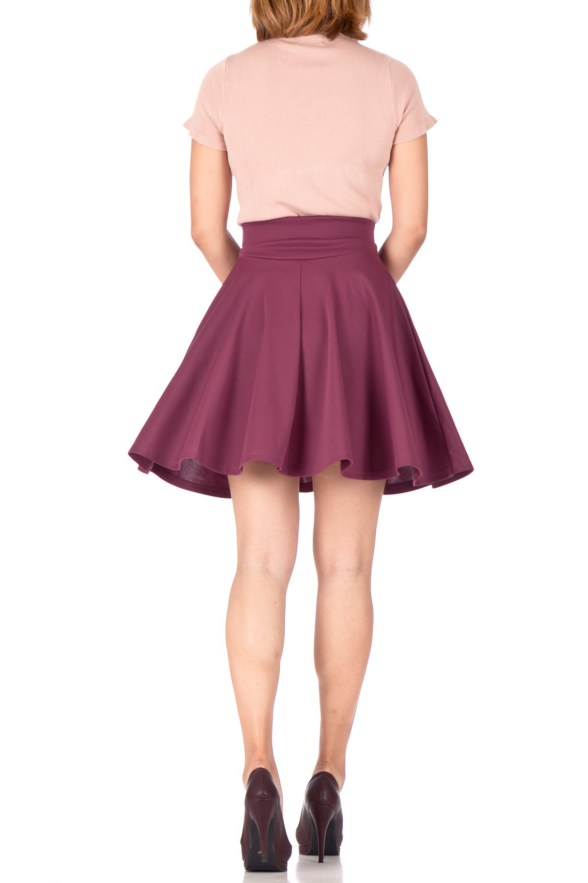 Breathtaking High Waist A line Circle Full Flared Skater Mini Skirt Hibiscus 05