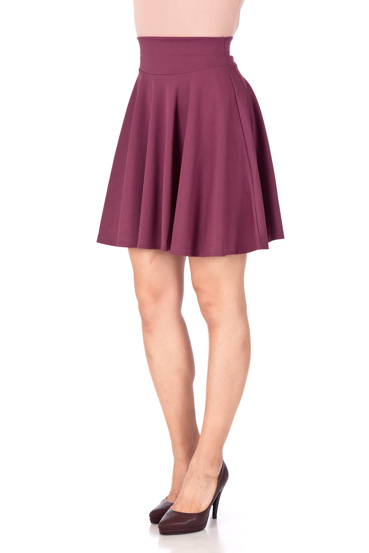 Breathtaking High Waist A line Circle Full Flared Skater Mini Skirt Hibiscus 06