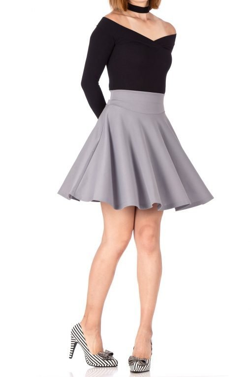Breathtaking High Waist A line Circle Full Flared Skater Mini Skirt Light Gray 01 1