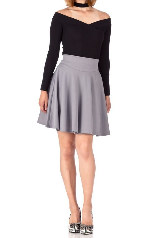 Breathtaking High Waist A line Circle Full Flared Skater Mini Skirt Light Gray 02 1