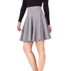 Breathtaking High Waist A line Circle Full Flared Skater Mini Skirt Light Gray 03 1