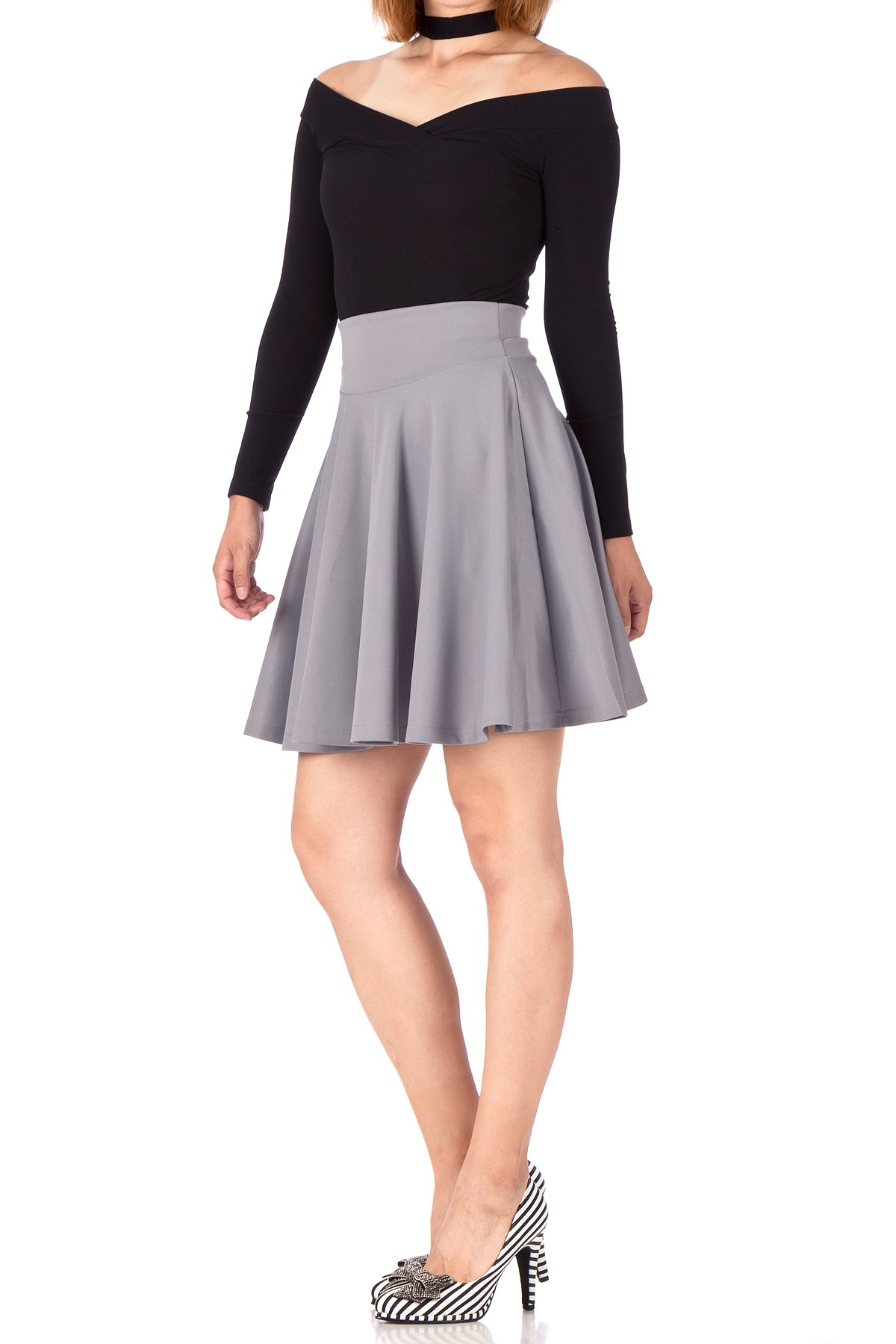 Breathtaking High Waist A line Circle Full Flared Skater Mini Skirt Light Gray 03