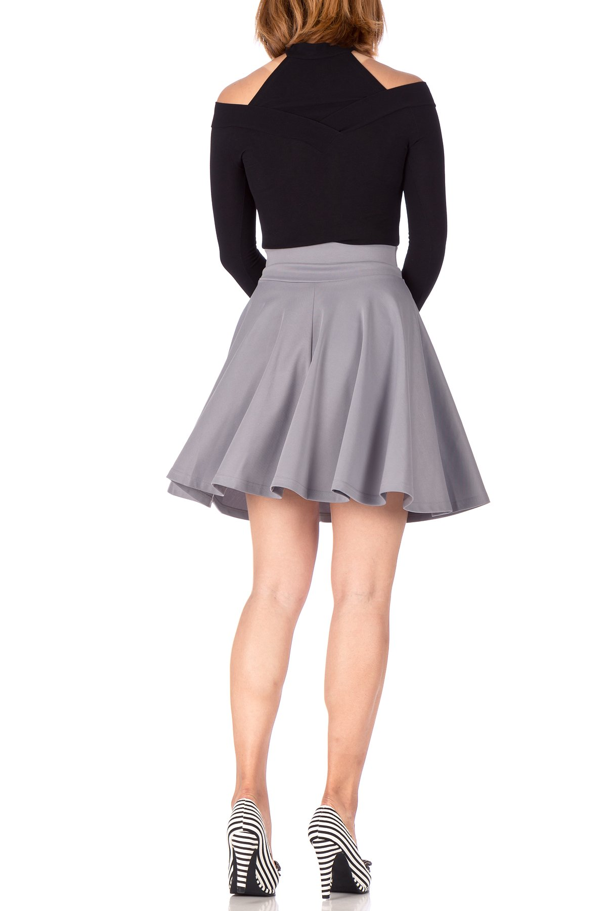 Breathtaking High Waist A line Circle Full Flared Skater Mini Skirt Light Gray 04