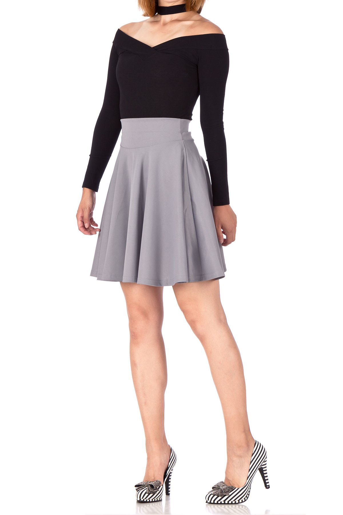 Breathtaking High Waist A line Circle Full Flared Skater Mini Skirt Light Gray 05