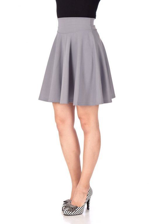 Breathtaking High Waist A line Circle Full Flared Skater Mini Skirt Light Gray 06 1