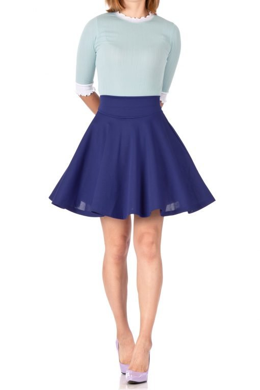 Breathtaking High Waist A line Circle Full Flared Skater Mini Skirt Navy Blue 01 1