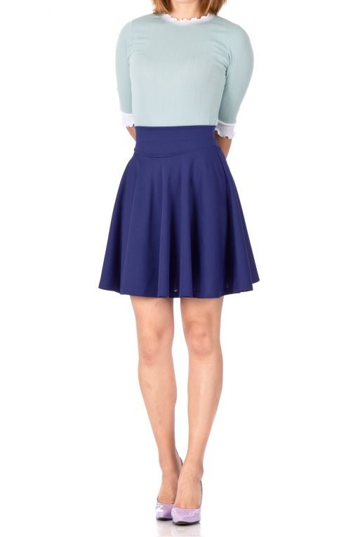Breathtaking High Waist A line Circle Full Flared Skater Mini Skirt Navy Blue 02 1