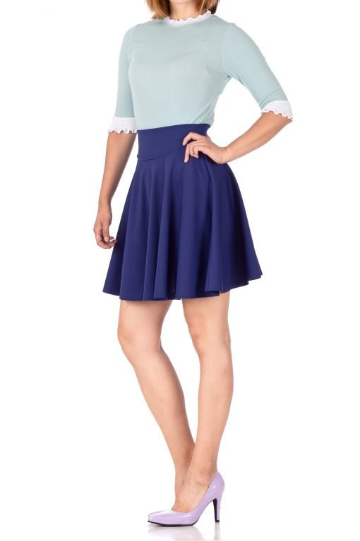 Breathtaking High Waist A line Circle Full Flared Skater Mini Skirt Navy Blue 03 1