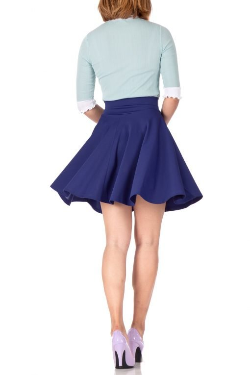 Breathtaking High Waist A line Circle Full Flared Skater Mini Skirt Navy Blue 04 1