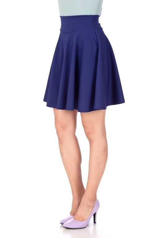 Breathtaking High Waist A line Circle Full Flared Skater Mini Skirt Navy Blue 05 1