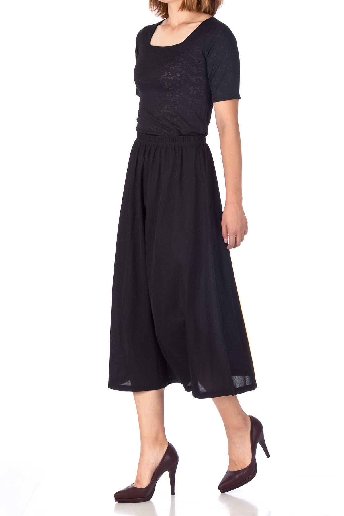 Brilliant Elastic Waist Full Flared Long Skirt Black 01