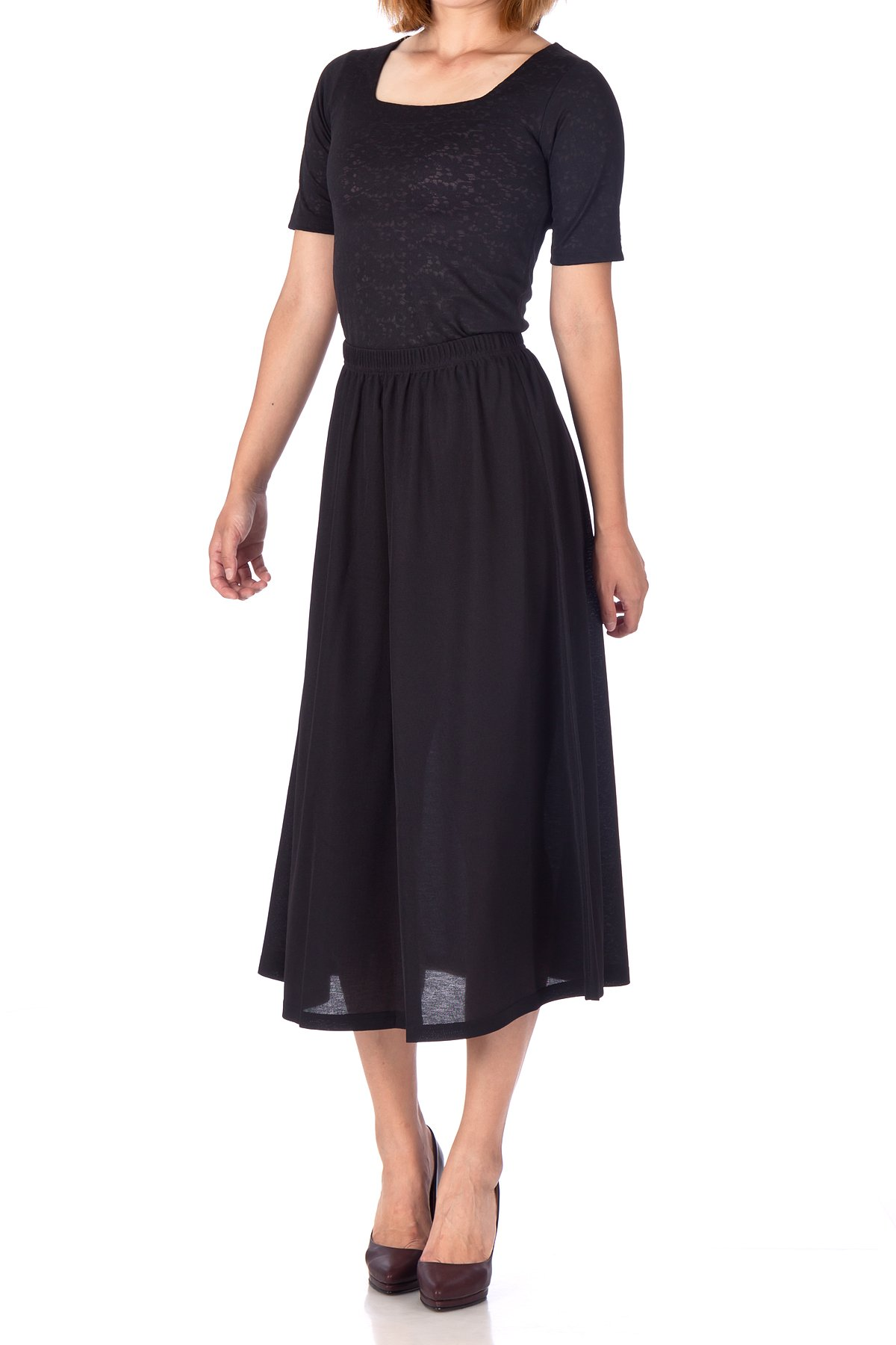 Brilliant Elastic Waist Full Flared Long Skirt Black 03
