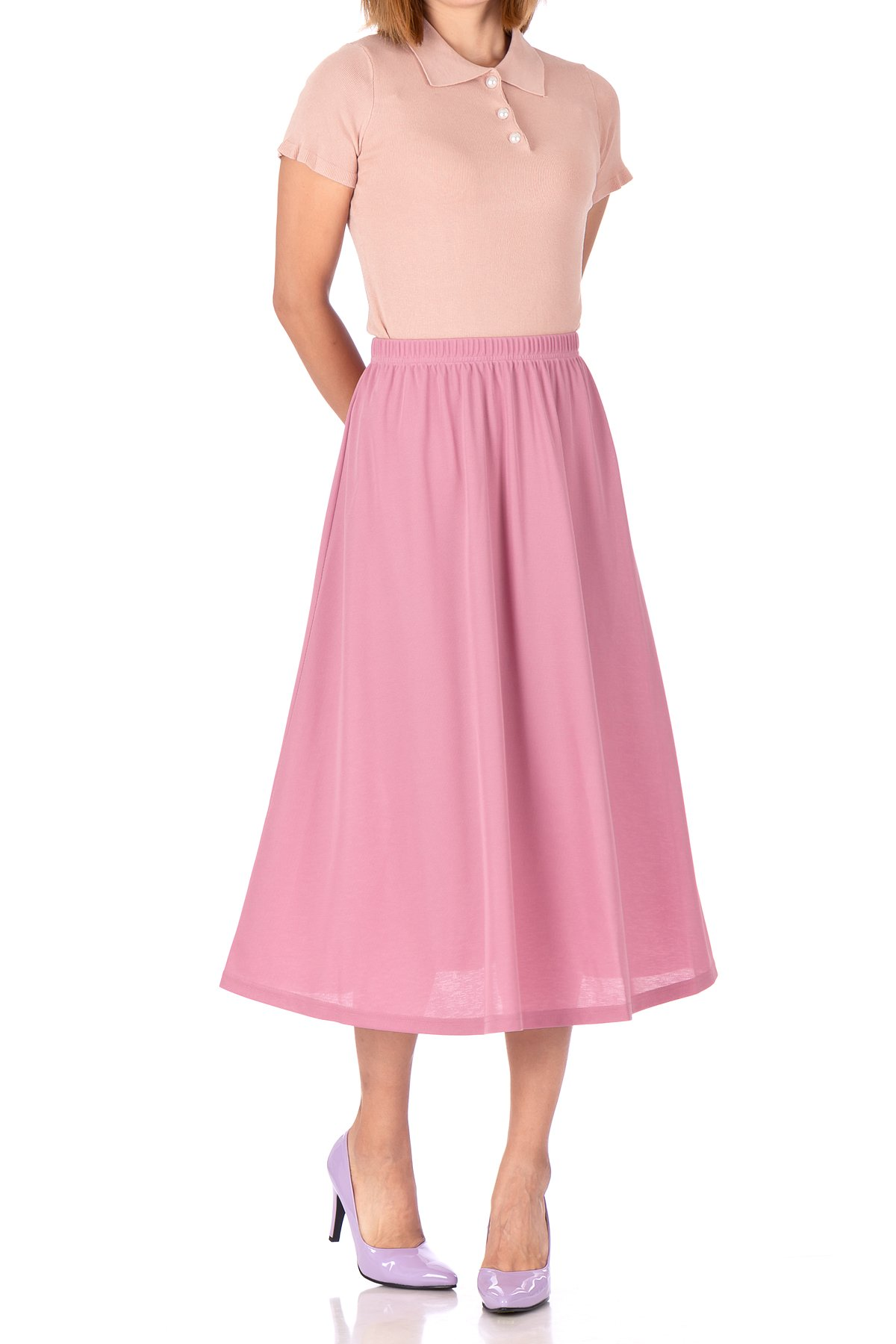 Brilliant Elastic Waist Full Flared Long Skirt Flamingo 01 1