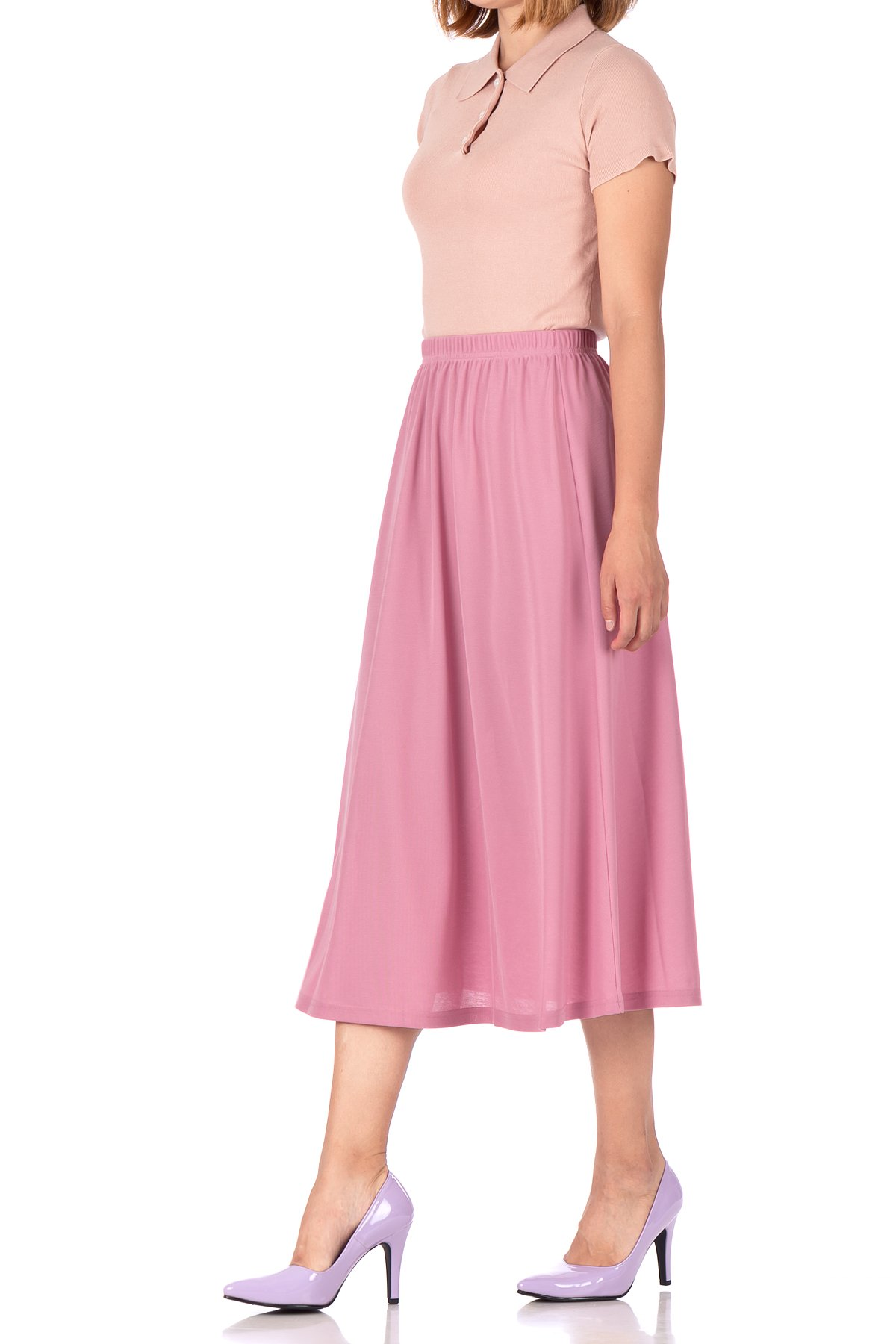 Brilliant Elastic Waist Full Flared Long Skirt Flamingo 05 1