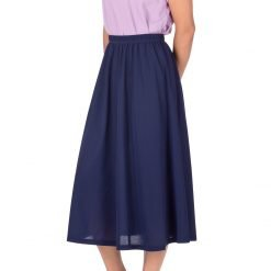 Brilliant Elastic Waist Full Flared Long Skirt Navy 01 1