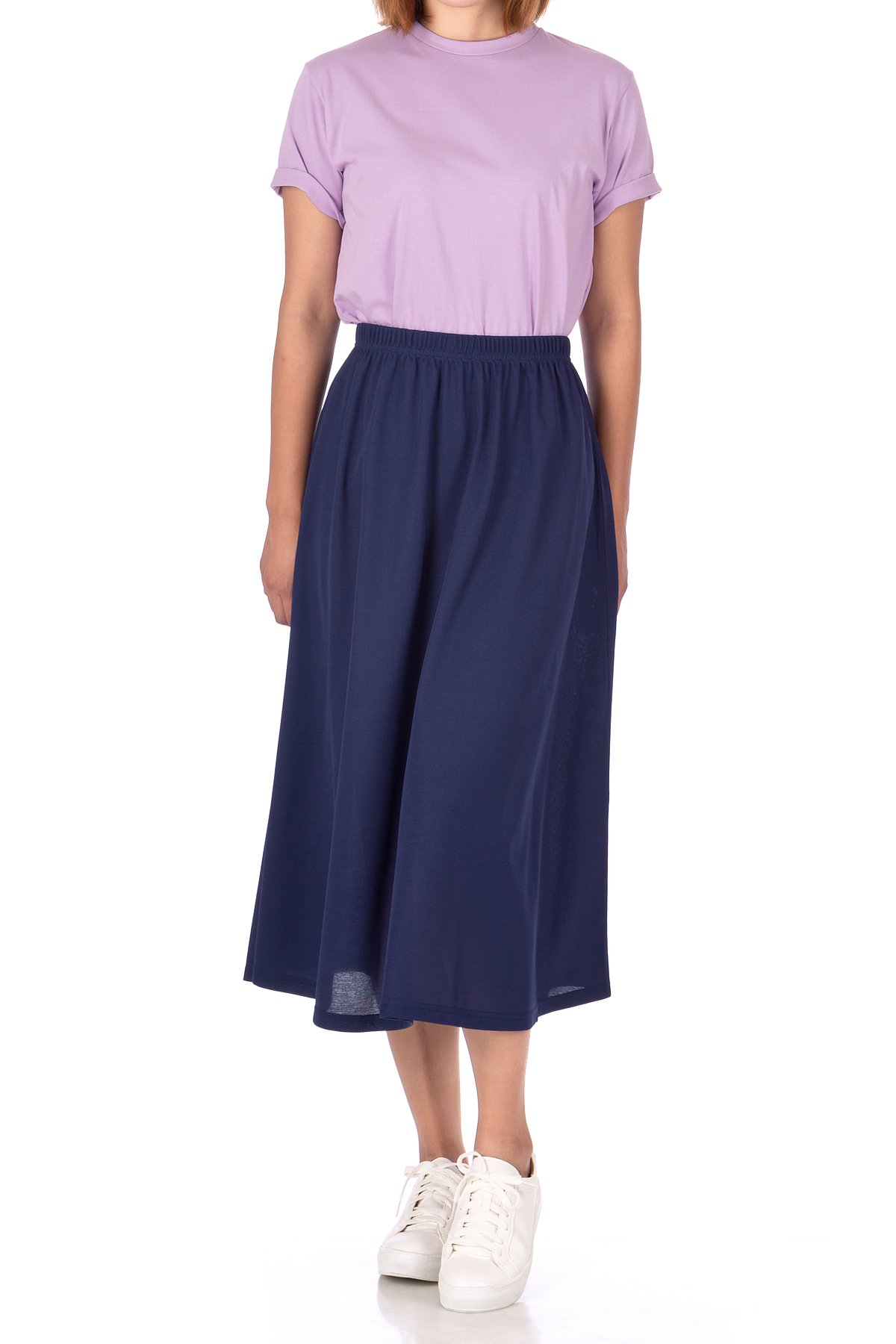 Brilliant Elastic Waist Full Flared Long Skirt Navy 02 1