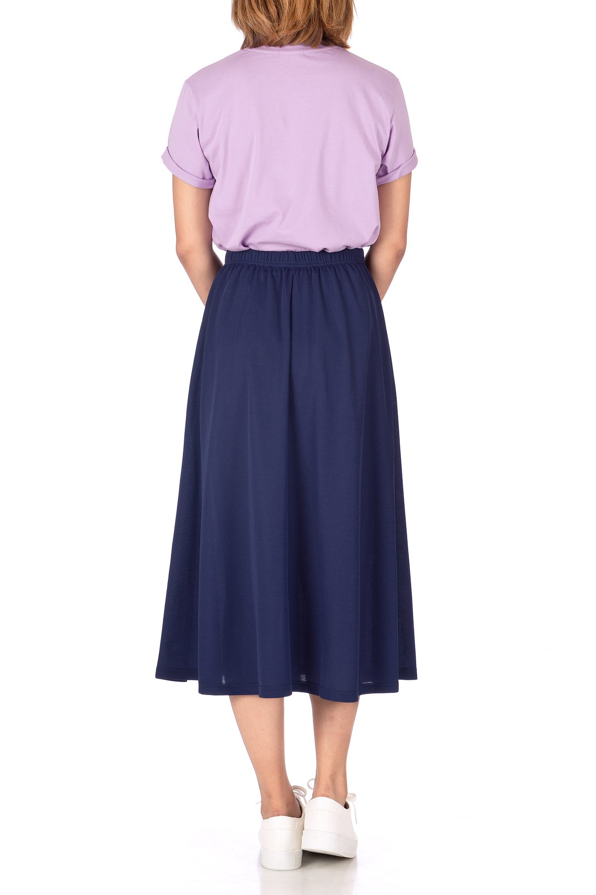 Brilliant Elastic Waist Full Flared Long Skirt Navy 03