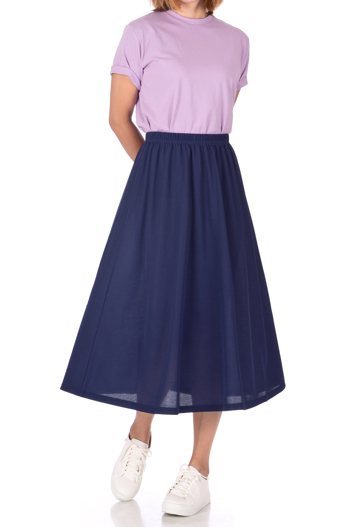 Brilliant Elastic Waist Full Flared Long Skirt Navy 04