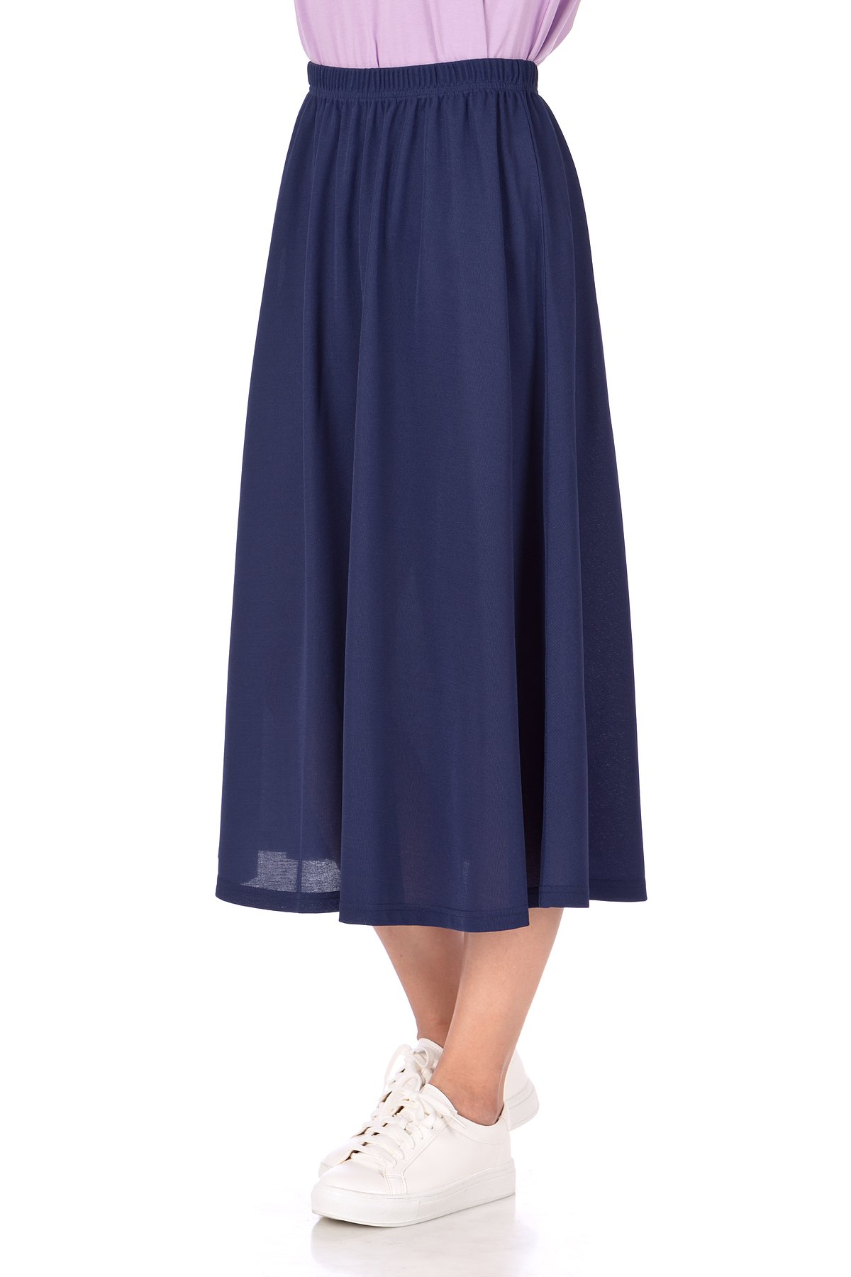 Brilliant Elastic Waist Full Flared Long Skirt Navy 05