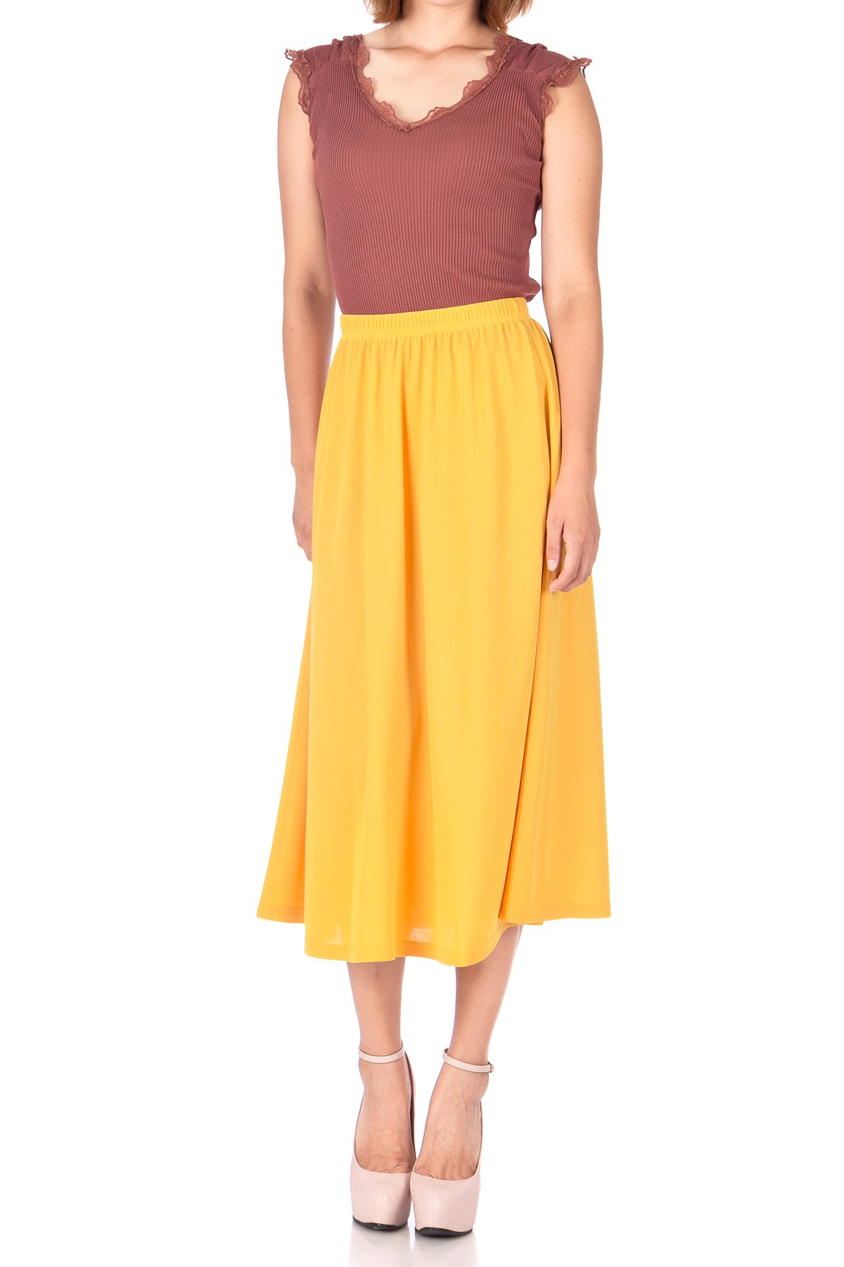 Brilliant Elastic Waist Full Flared Long Skirt Yellow 01