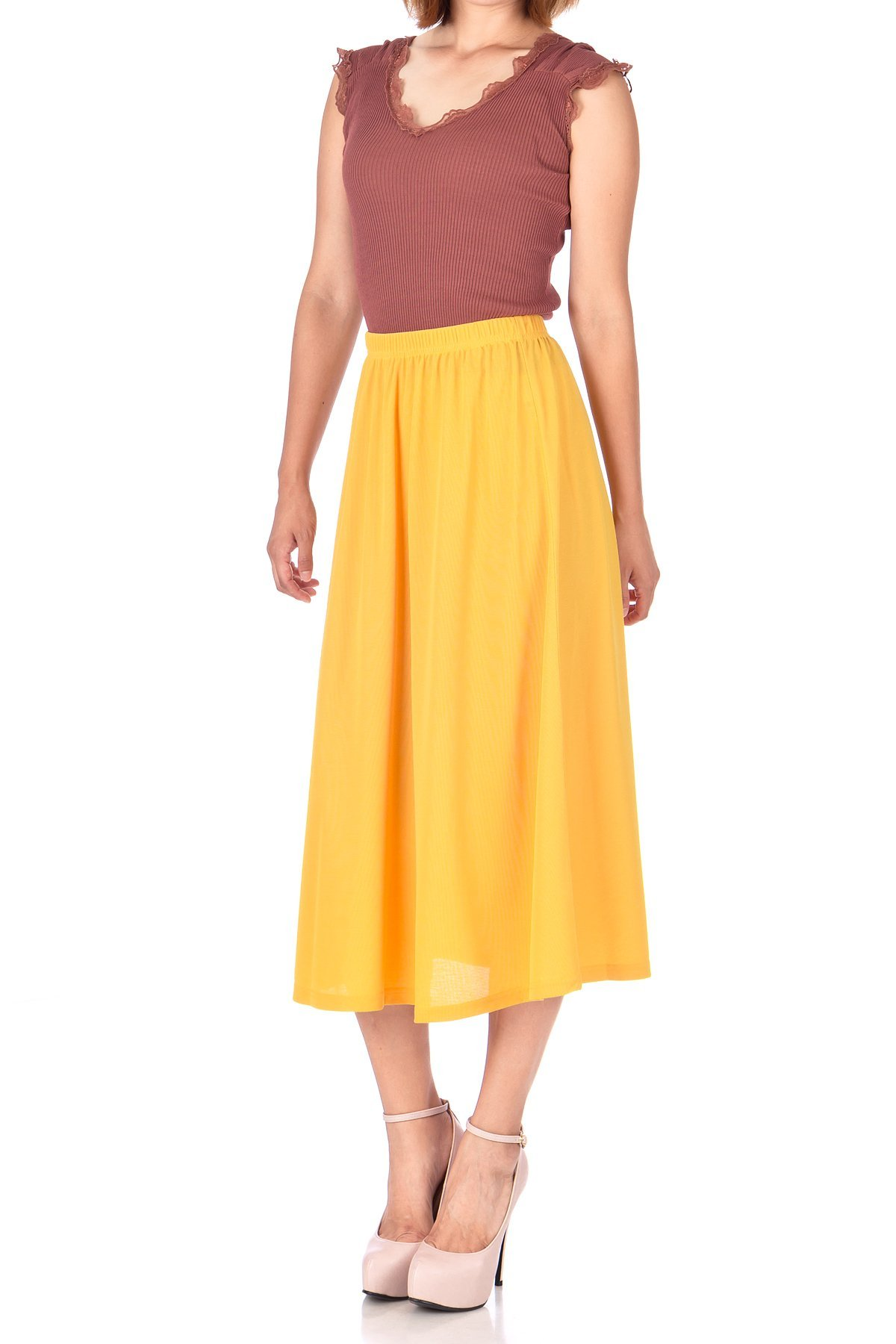 Brilliant Elastic Waist Full Flared Long Skirt Yellow 02