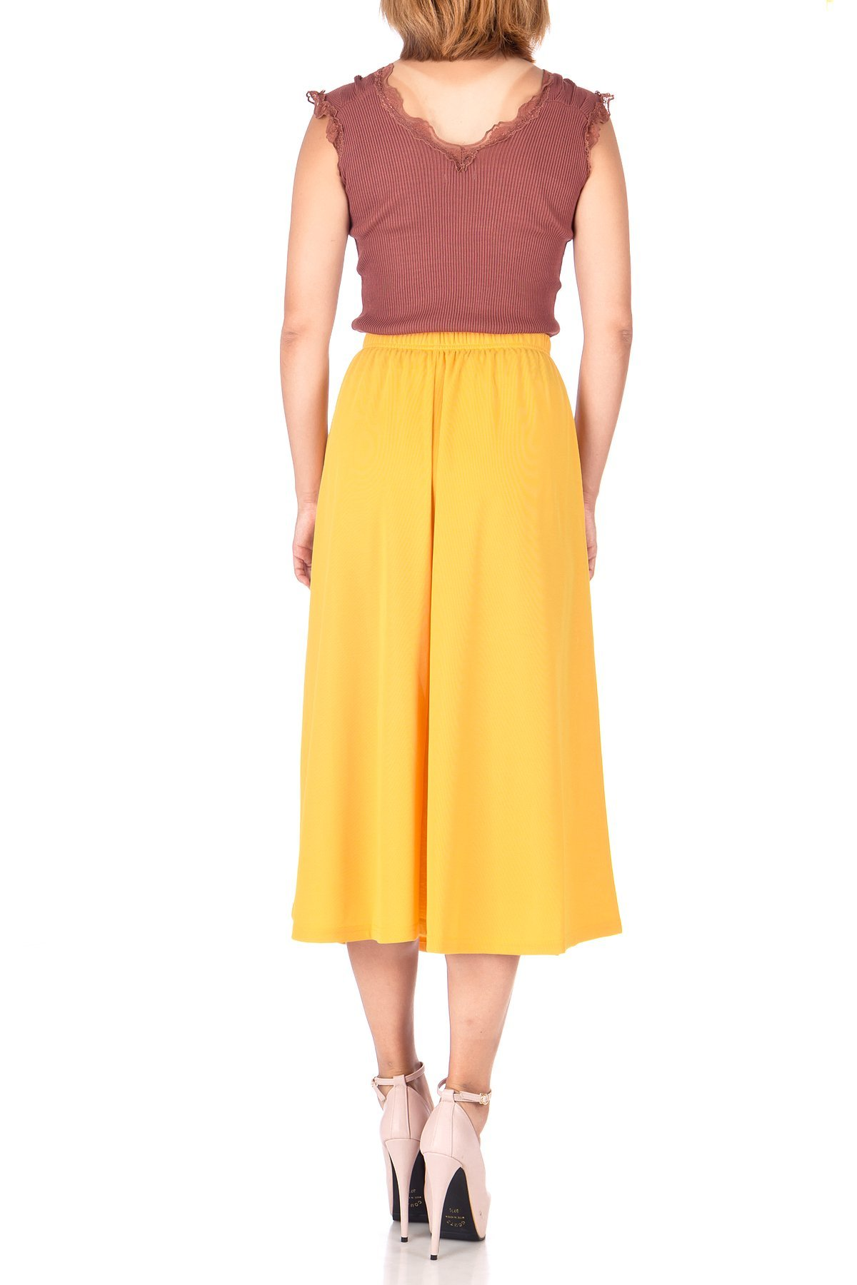Brilliant Elastic Waist Full Flared Long Skirt Yellow 03