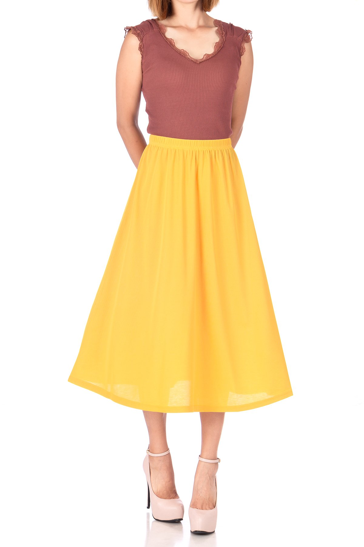 Brilliant Elastic Waist Full Flared Long Skirt Yellow 04