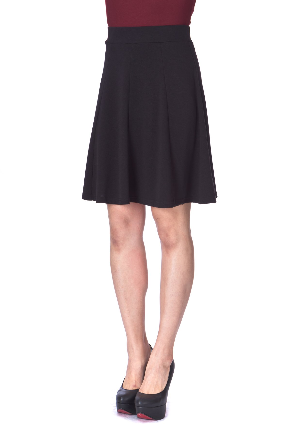 Casual to Formal Stretch Gored Flared Trumpet Mermaid Knee Length Skirt Black 6