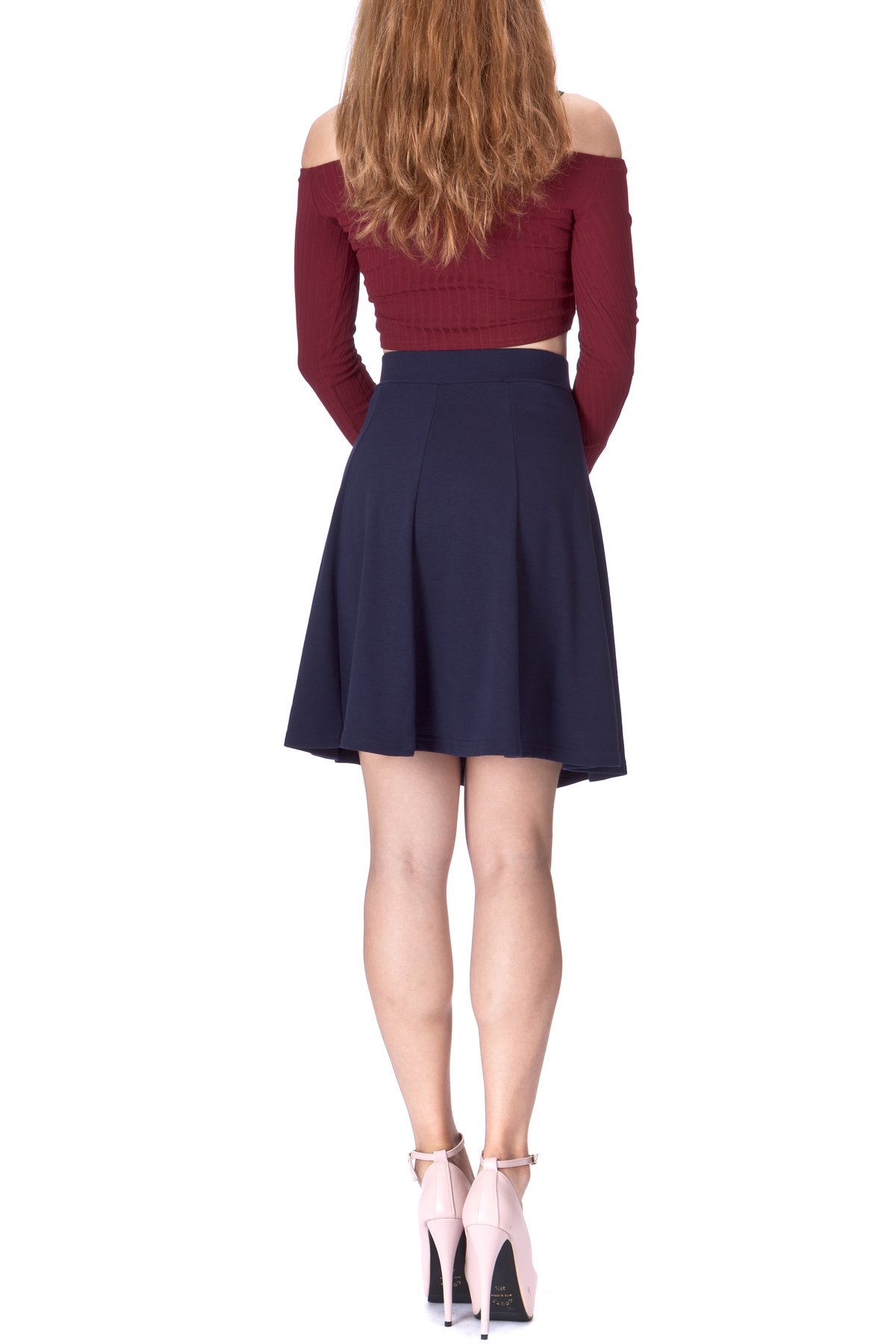 Casual to Formal Stretch Gored Flared Trumpet Mermaid Knee Length Skirt Navy 3
