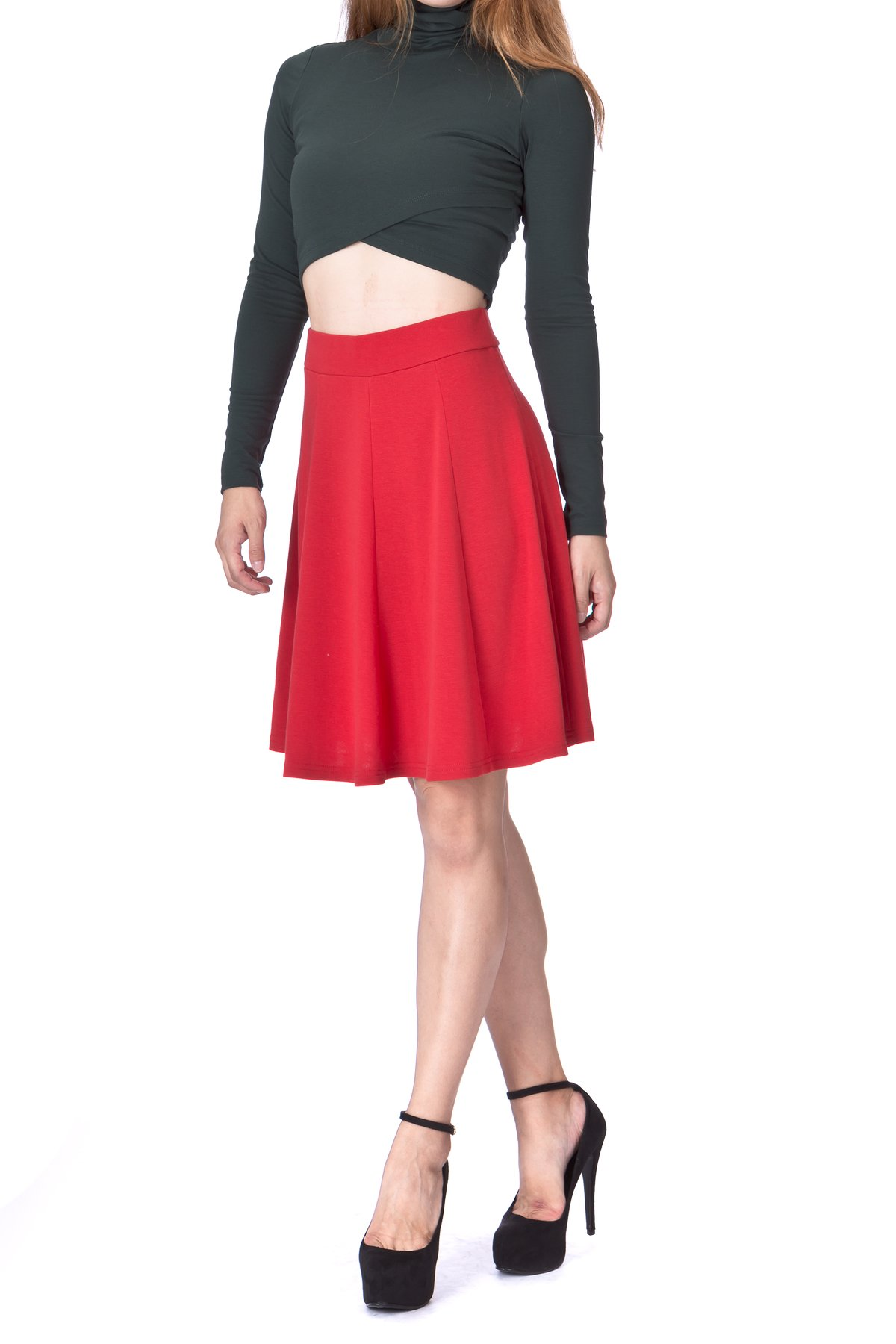 Casual to Formal Stretch Gored Flared Trumpet Mermaid Knee Length Skirt Red 2