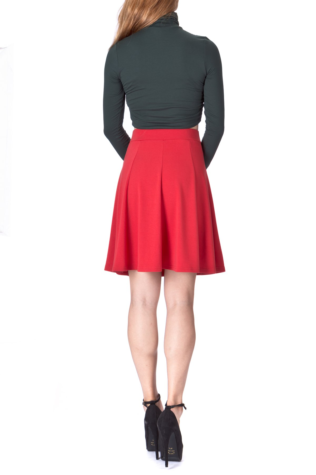 Casual to Formal Stretch Gored Flared Trumpet Mermaid Knee Length Skirt Red 3