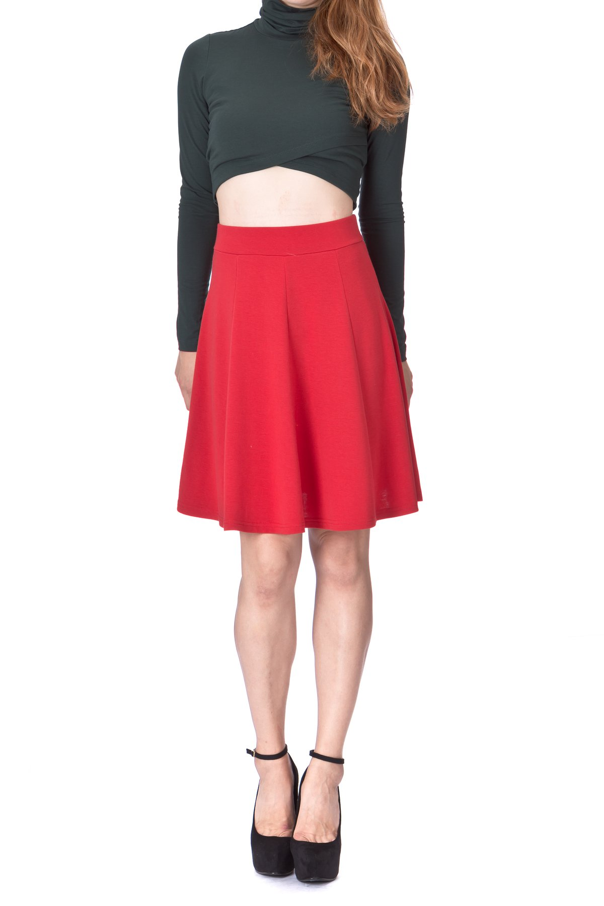 Casual to Formal Stretch Gored Flared Trumpet Mermaid Knee Length Skirt Red 4