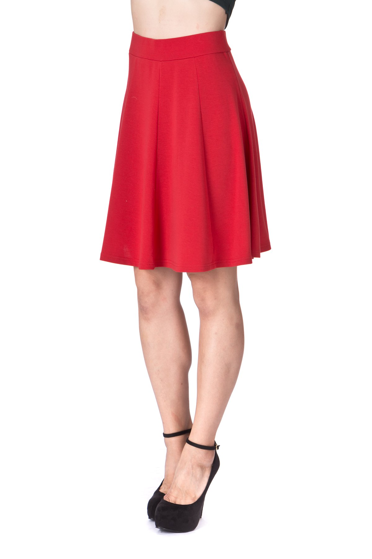 Casual to Formal Stretch Gored Flared Trumpet Mermaid Knee Length Skirt Red 6