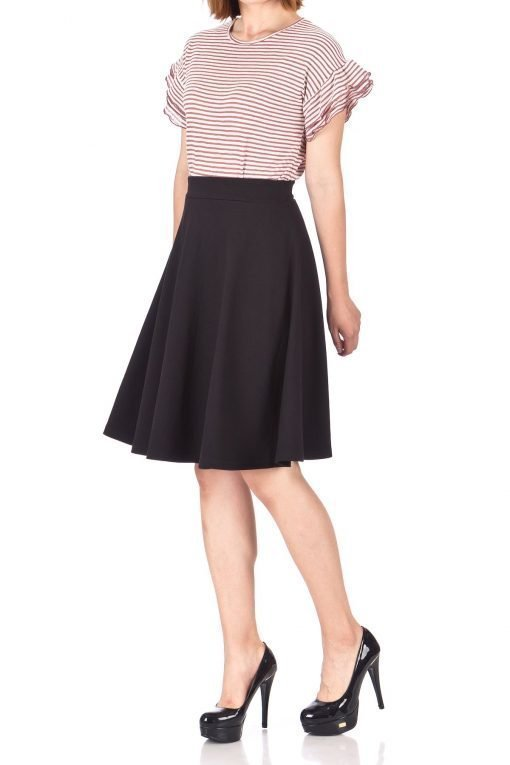 Comfy and Lovely Cotton Blend Versatile Casual Office High Waist A line Full Flared Swing Circle Skater Knee Length Skirt Black 01 1