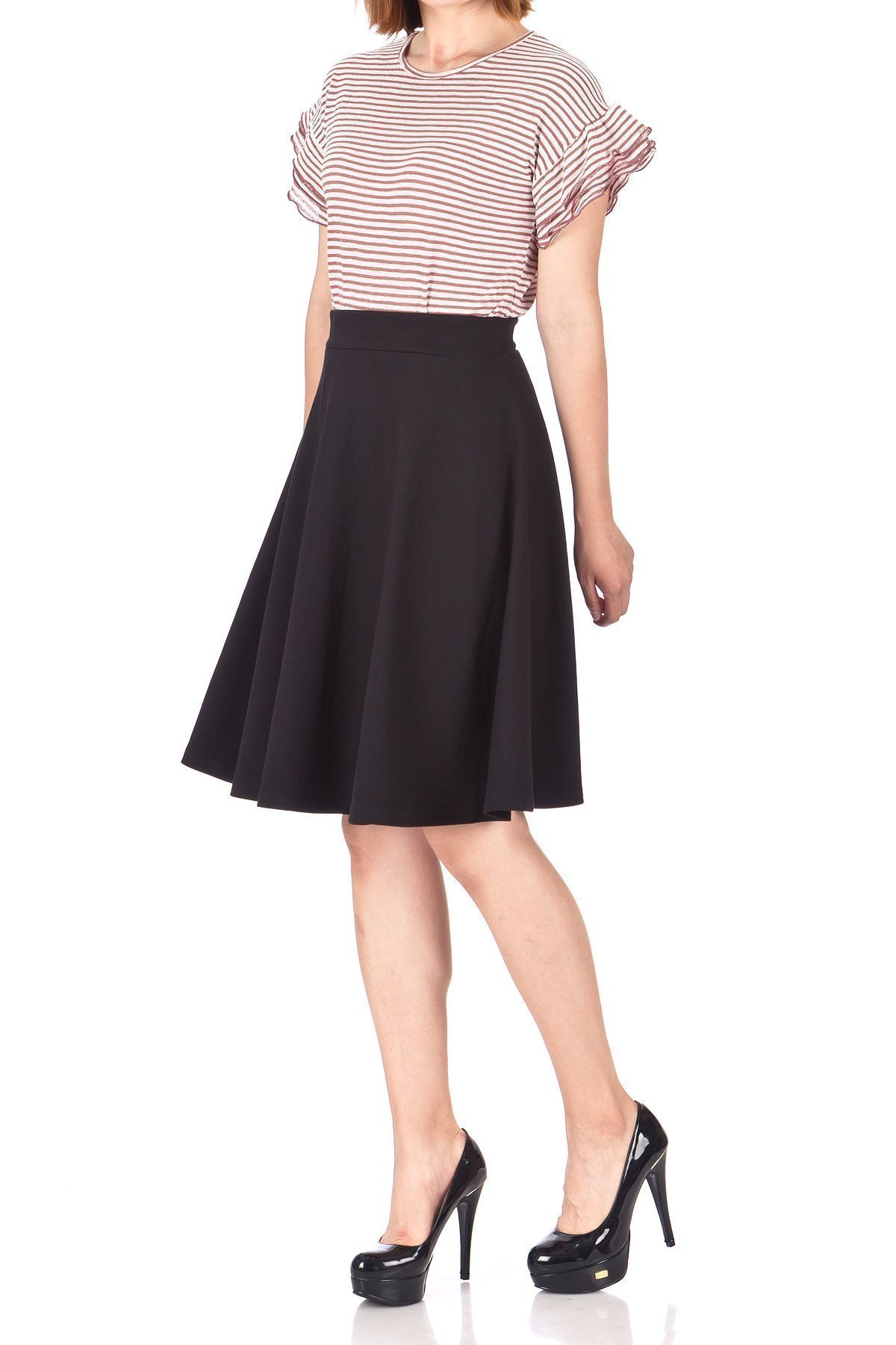 Comfy and Lovely Cotton Blend Versatile Casual Office High Waist A line Full Flared Swing Circle Skater Knee Length Skirt Black 01