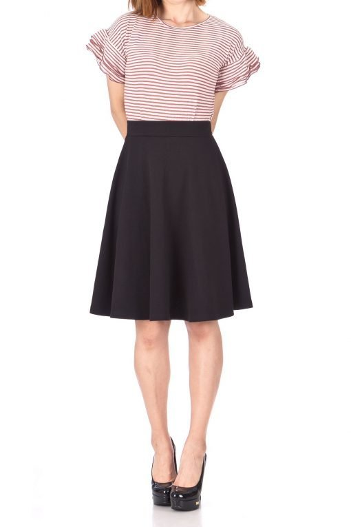 Comfy and Lovely Cotton Blend Versatile Casual Office High Waist A line Full Flared Swing Circle Skater Knee Length Skirt Black 02 1