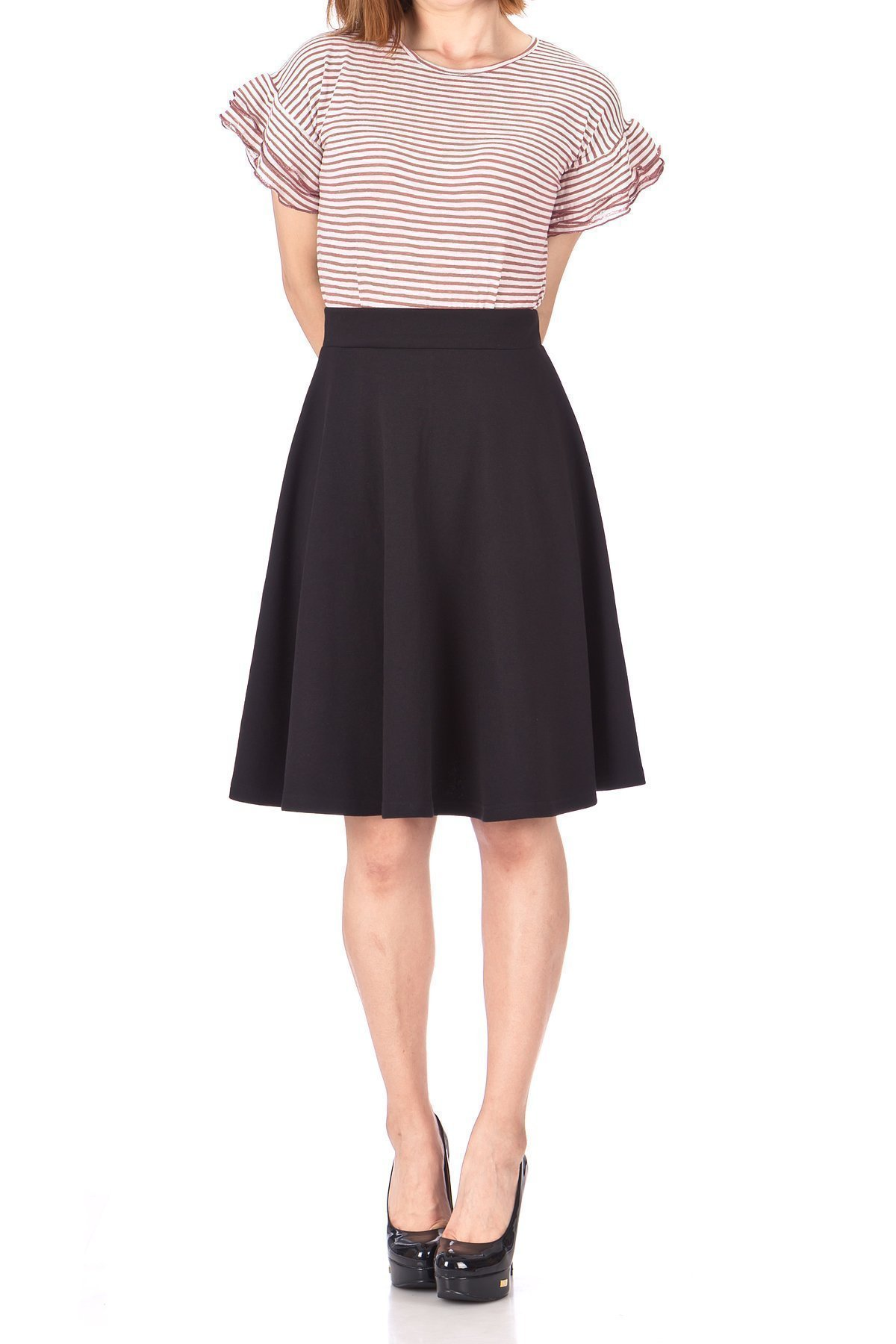 Comfy and Lovely Cotton Blend Versatile Casual Office High Waist A line Full Flared Swing Circle Skater Knee Length Skirt Black 02