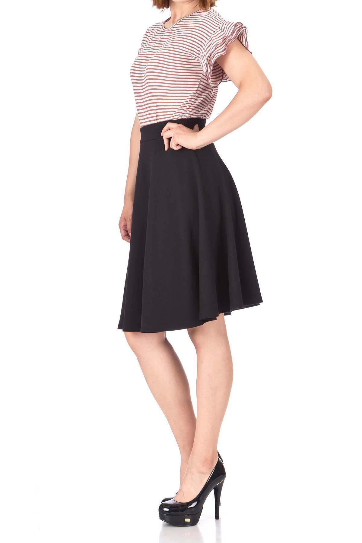 Comfy and Lovely Cotton Blend Versatile Casual Office High Waist A line Full Flared Swing Circle Skater Knee Length Skirt Black 03