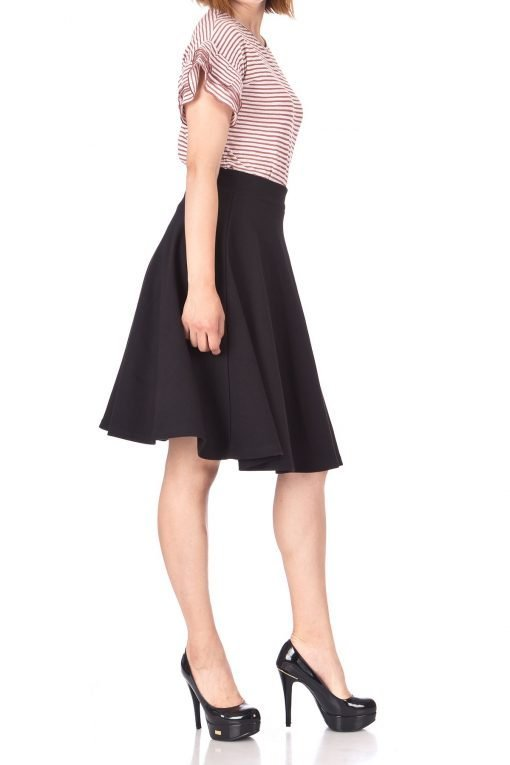 Comfy and Lovely Cotton Blend Versatile Casual Office High Waist A line Full Flared Swing Circle Skater Knee Length Skirt Black 04 1