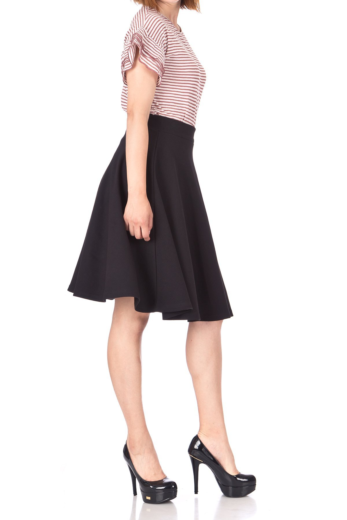 Comfy and Lovely Cotton Blend Versatile Casual Office High Waist A line Full Flared Swing Circle Skater Knee Length Skirt Black 04