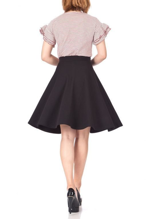 Comfy and Lovely Cotton Blend Versatile Casual Office High Waist A line Full Flared Swing Circle Skater Knee Length Skirt Black 05 1
