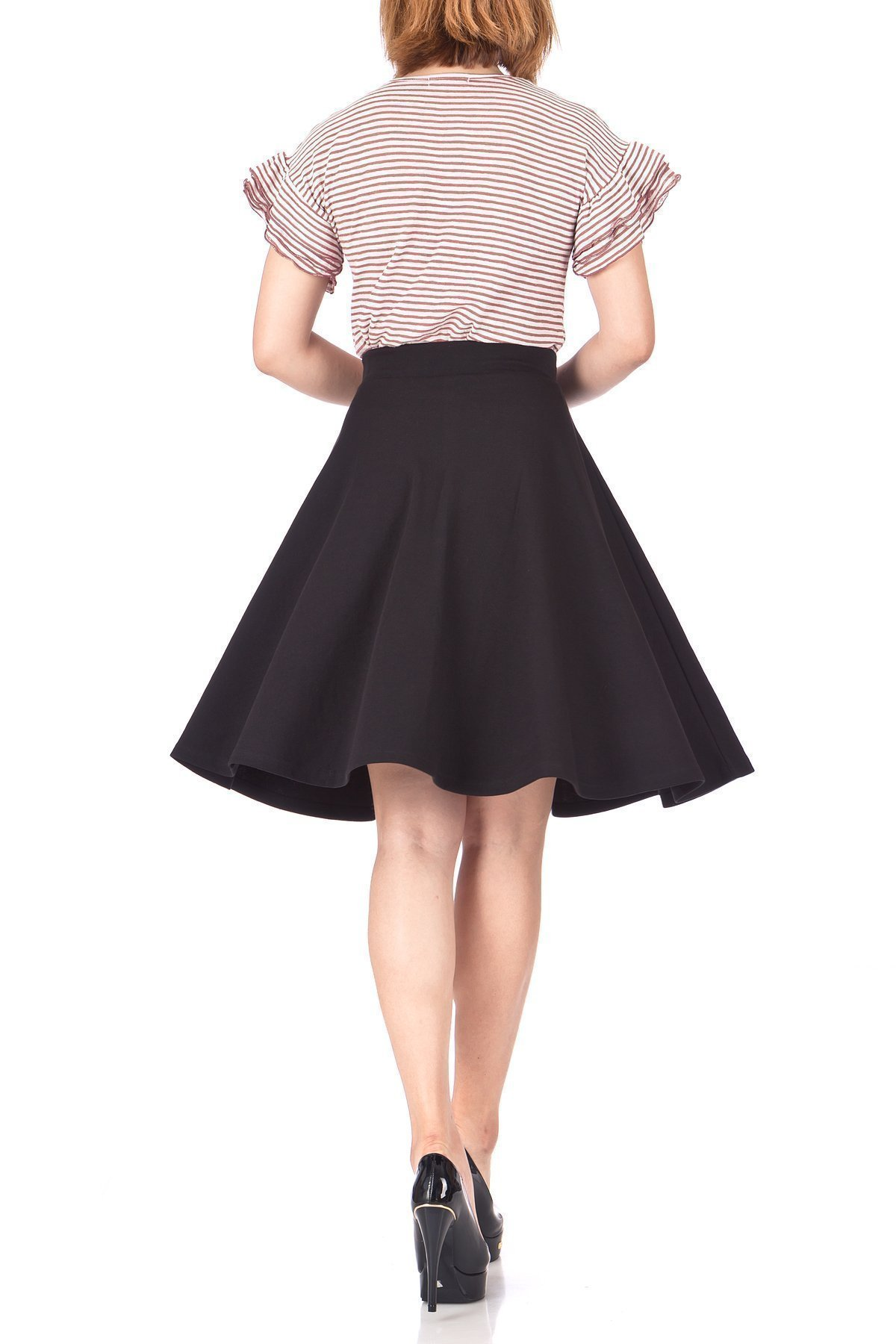 Comfy and Lovely Cotton Blend Versatile Casual Office High Waist A line Full Flared Swing Circle Skater Knee Length Skirt Black 05