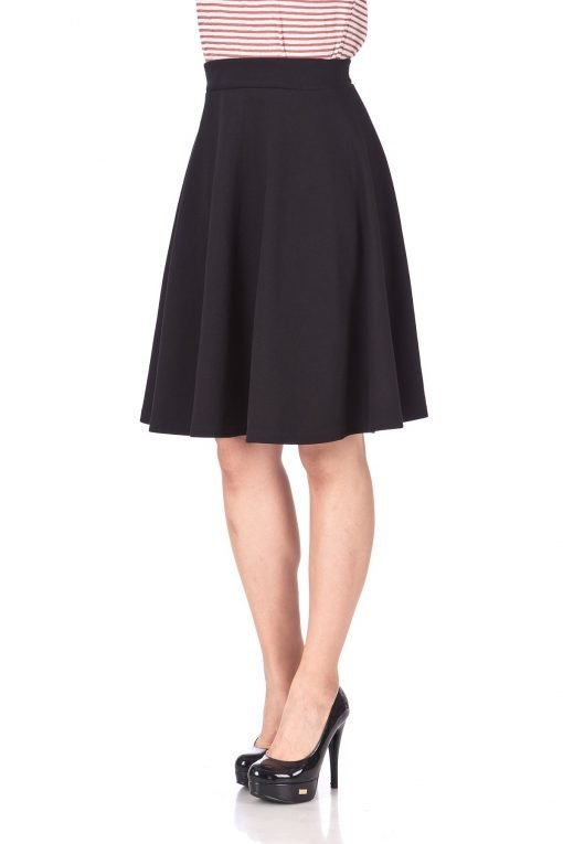 Comfy and Lovely Cotton Blend Versatile Casual Office High Waist A line Full Flared Swing Circle Skater Knee Length Skirt Black 06 1